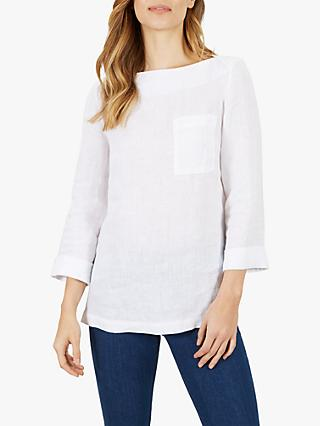 Jaeger Linen Patch Pocket Top, White