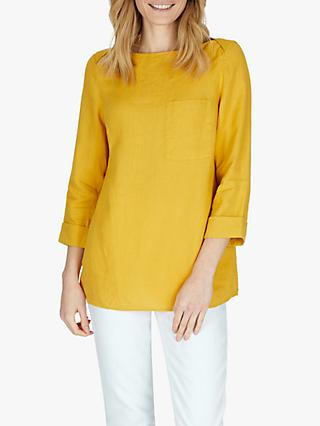 Jaeger Patch Pocket Linen Top, Dark Yellow