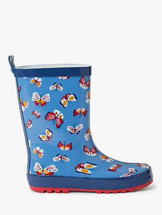 John Lewis & Partners Children's Butterfly Wellington Boots, Blue