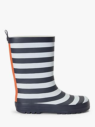 John Lewis & Partners Children's Striped Wellington Boots, Navy