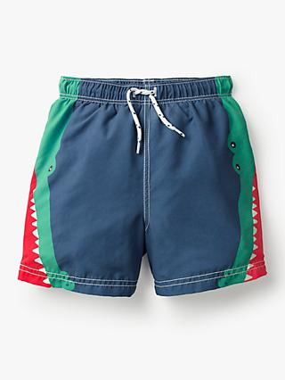 Mini Boden Boys' Crocodile Swimming Shorts, Blue