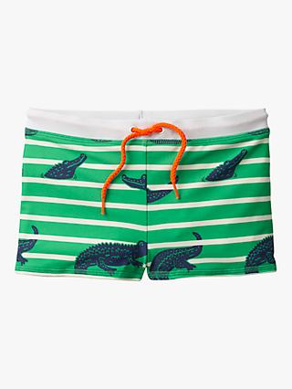 Mini Boden Boys' Crocodile Print Swimming Trunks, Green