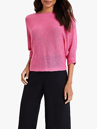 Phase Eight Delmi Linen Batwing V-Neck Jumper, Bright Pink
