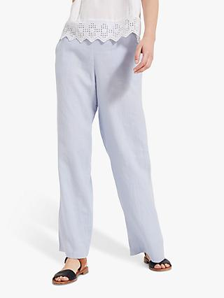 Phase Eight Lex Linen Trousers, Pale Blue