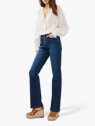 Mint Velvet Bellflower Bootcut Jeans, Blue