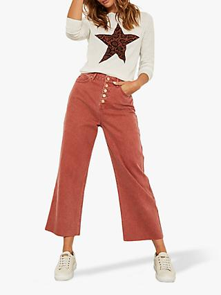 Mint Velvet Madison Raw Hem Jeans, Red