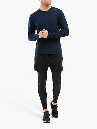 2XU HEAT Long Sleeve Running Top, Navy Marle
