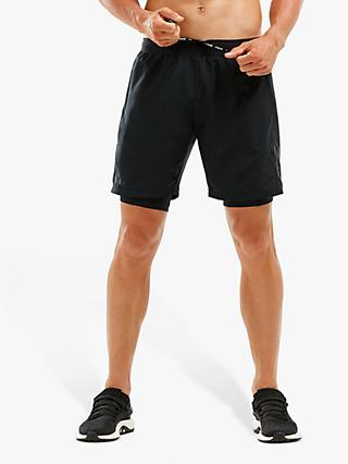 "2XU XCTRL 2-in-1 Compression 7"" Training Shorts, Black"