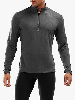 2XU HEAT 1/4 Zip Long Sleeve Running Top, Charcoal Marle