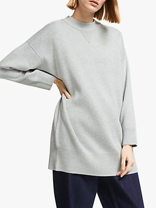 Kin Longline Compact Cotton Sweatshirt, Grey