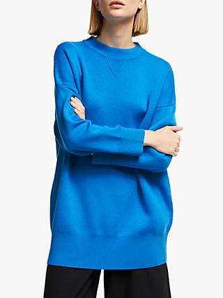 Kin Longline Compact Cotton Sweatshirt, Blue
