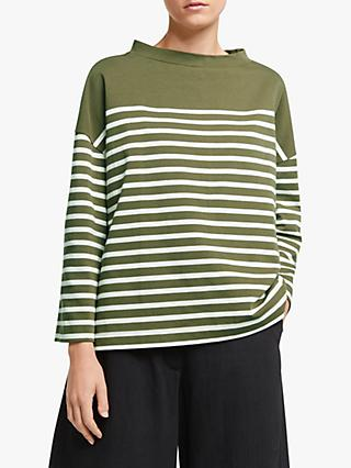 Kin Drop Funnel Neck Stripe Breton Top, Green