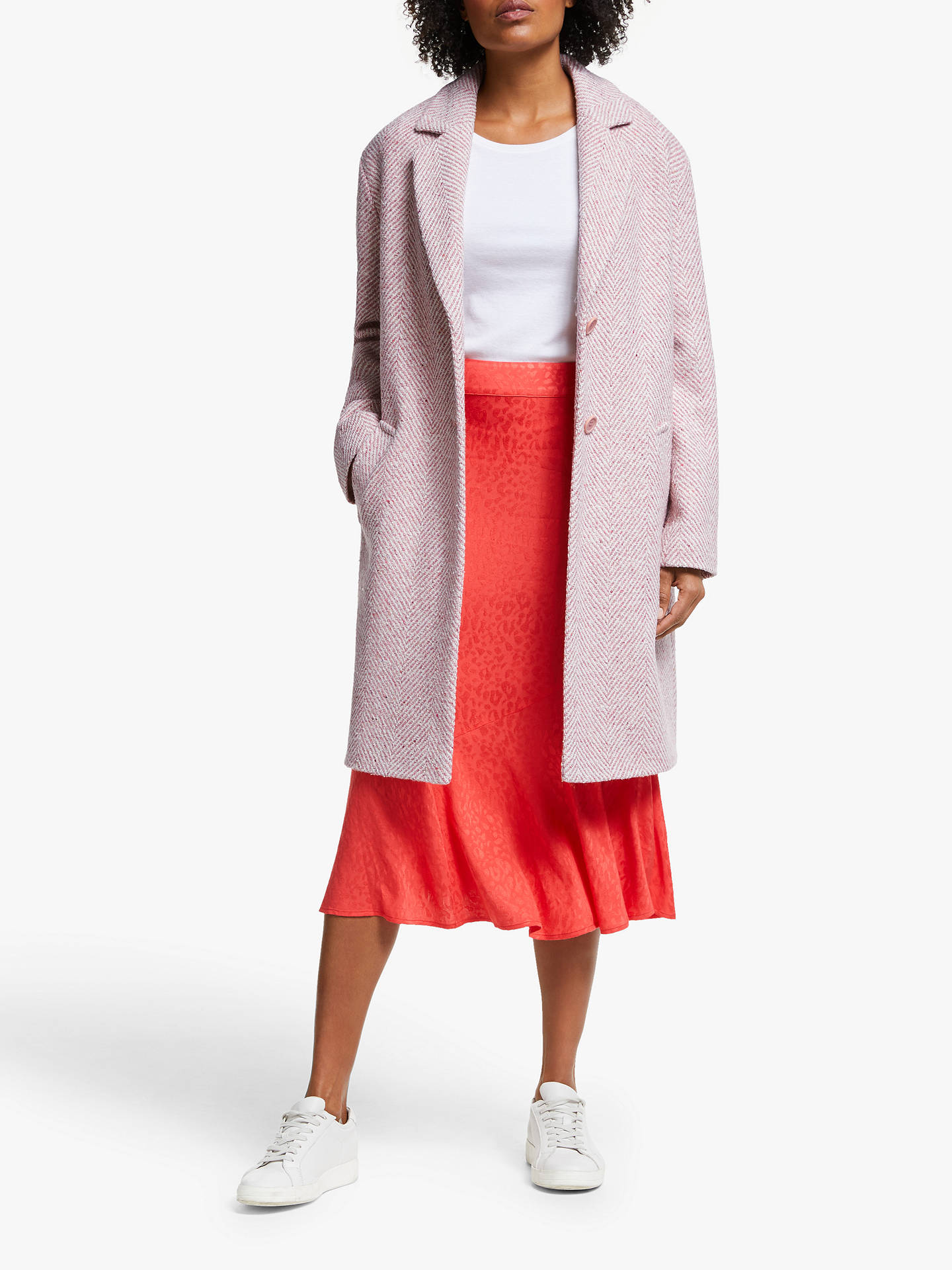 Collection Weekend By John Lewis Cashmere Herringbone Coat, Pink by Collection Weekend By John Lewis