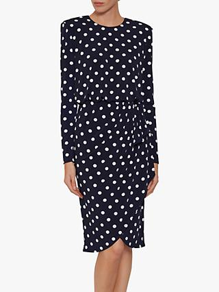 Gina Bacconi Rae Spot Dress, Navy/Ivory