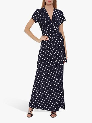 7edaa1770 Gina Bacconi Luciana Spot Print Maxi Dress, Navy/Ivory