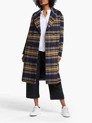 Collection WEEKEND by John Lewis Wool Blend Double Breasted Coat, Blue/Yellow