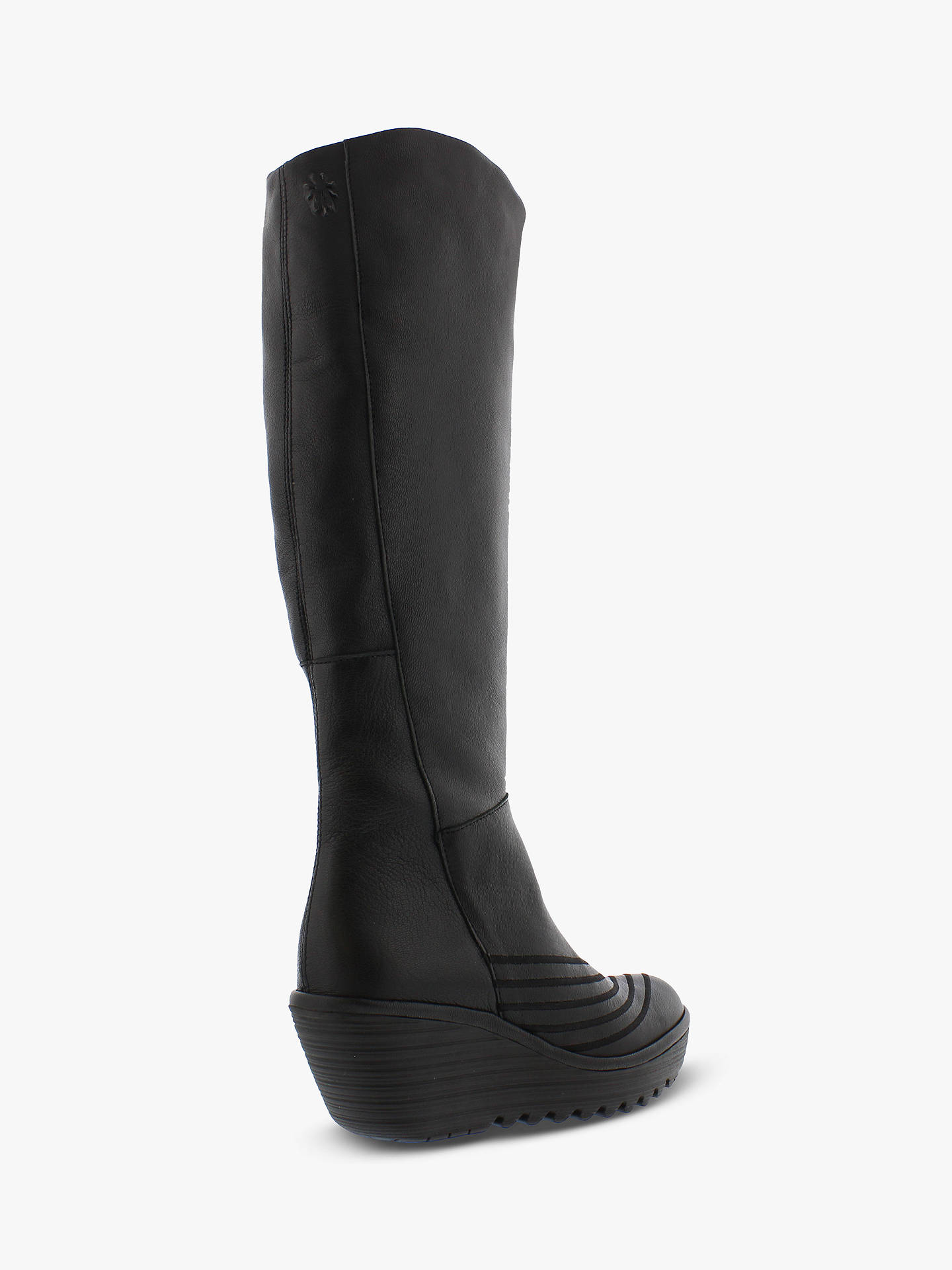 yet not vulgar discount double coupon Fly London Yuli065Fly Leather Wedge Heel Knee High Boots, Black