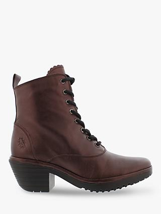 Fly London Wune077Fly Leather Lace Up Ankle Boots, Burgundy