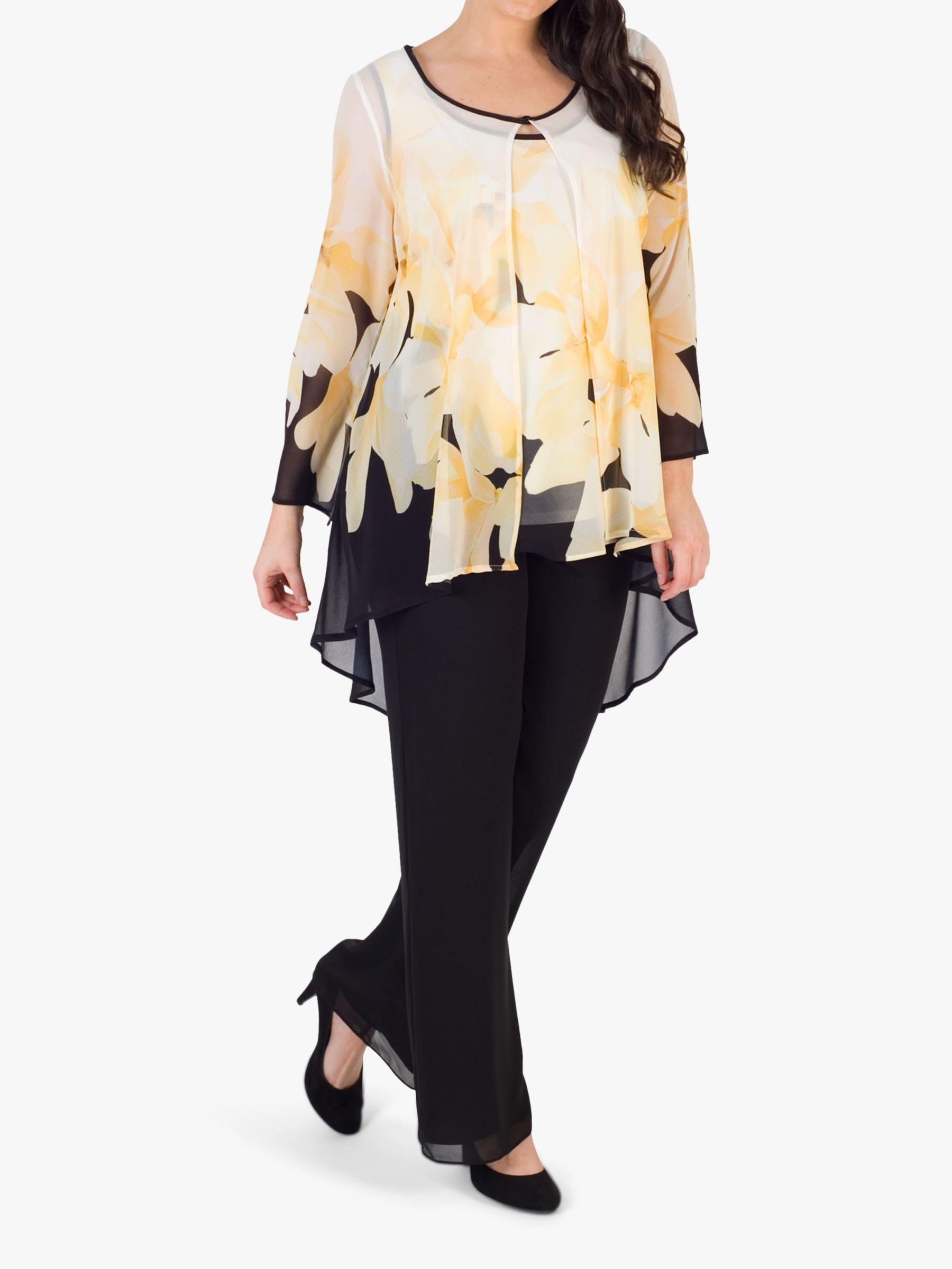 Chesca chesca Semi-Sheer Floral Print Chiffon Jacket, Black/Yellow/Ivory