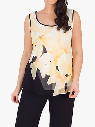 Chesca Chiffon Floral Print Cami Top, Black/Yellow/Ivory