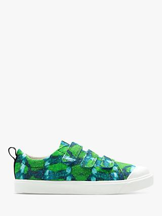 Clarks x National Geographic Children's City Geo Canvas Shoes, Green Combi