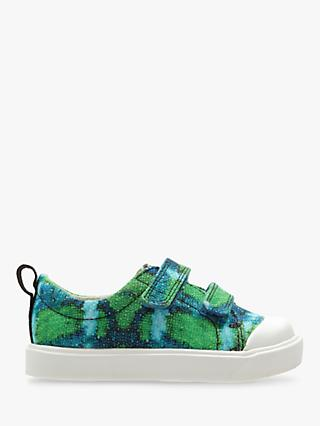 Clarks x National Geographic Children's Geo Canvas Shoes, Green Combi