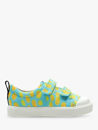 Clarks x National Geographic Children's Geo Canvas Shoes, Blue Combi