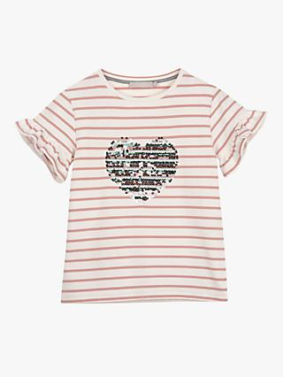 Mintie by Mint Velvet Girls' Heart Striped T-Shirt, Pink