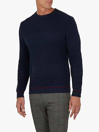cfb315a42a7f81 Ted Baker T for Tall Latartt Chunky Crew Jumper, Navy Blue