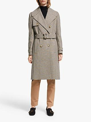 John Lewis & Partners Wool Blend Check Military Trench Coat, Neutral