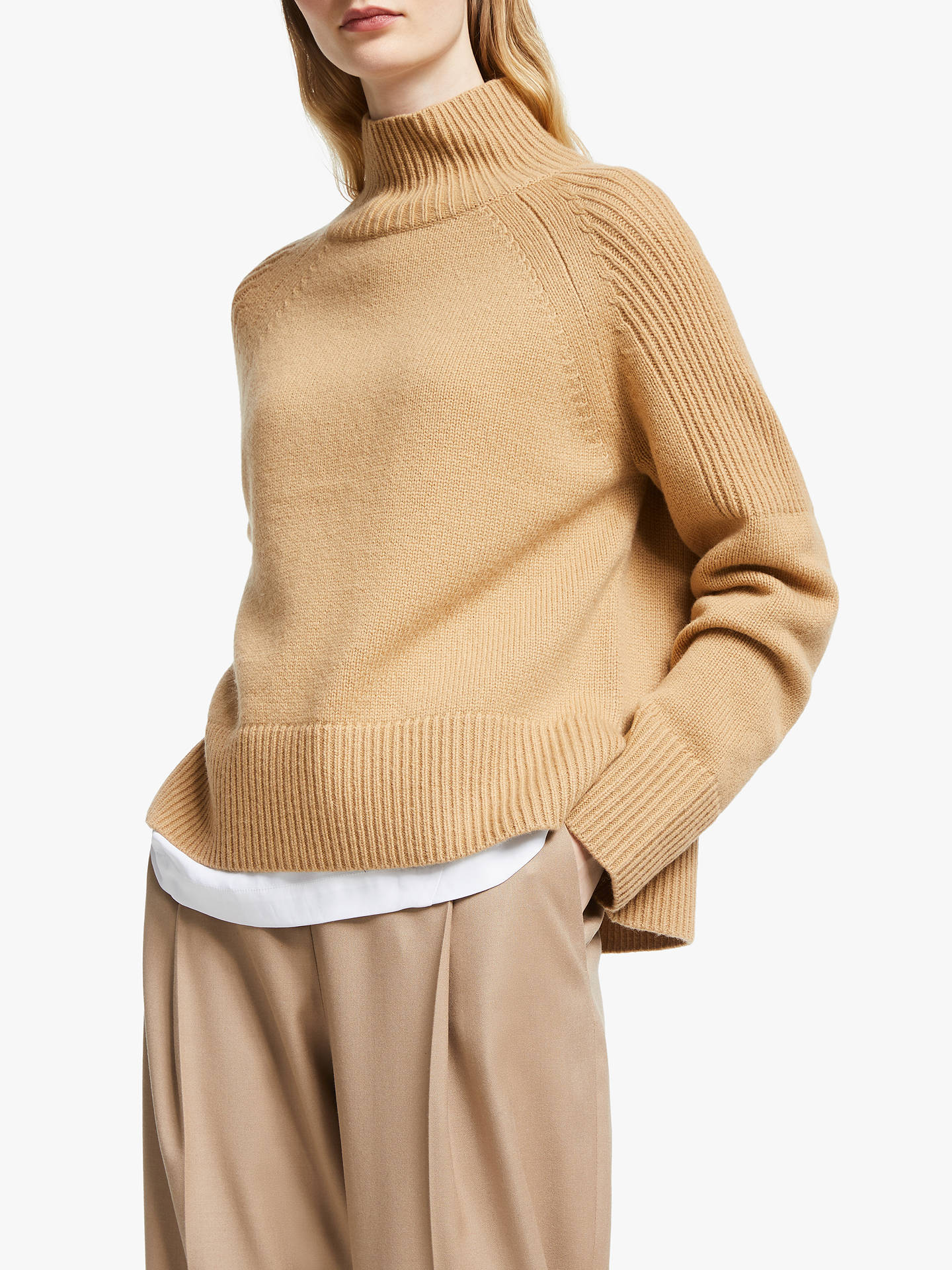 John Lewis & Partners Lambswool Wide Funnel Neck Sweater, Camel by John Lewis & Partners
