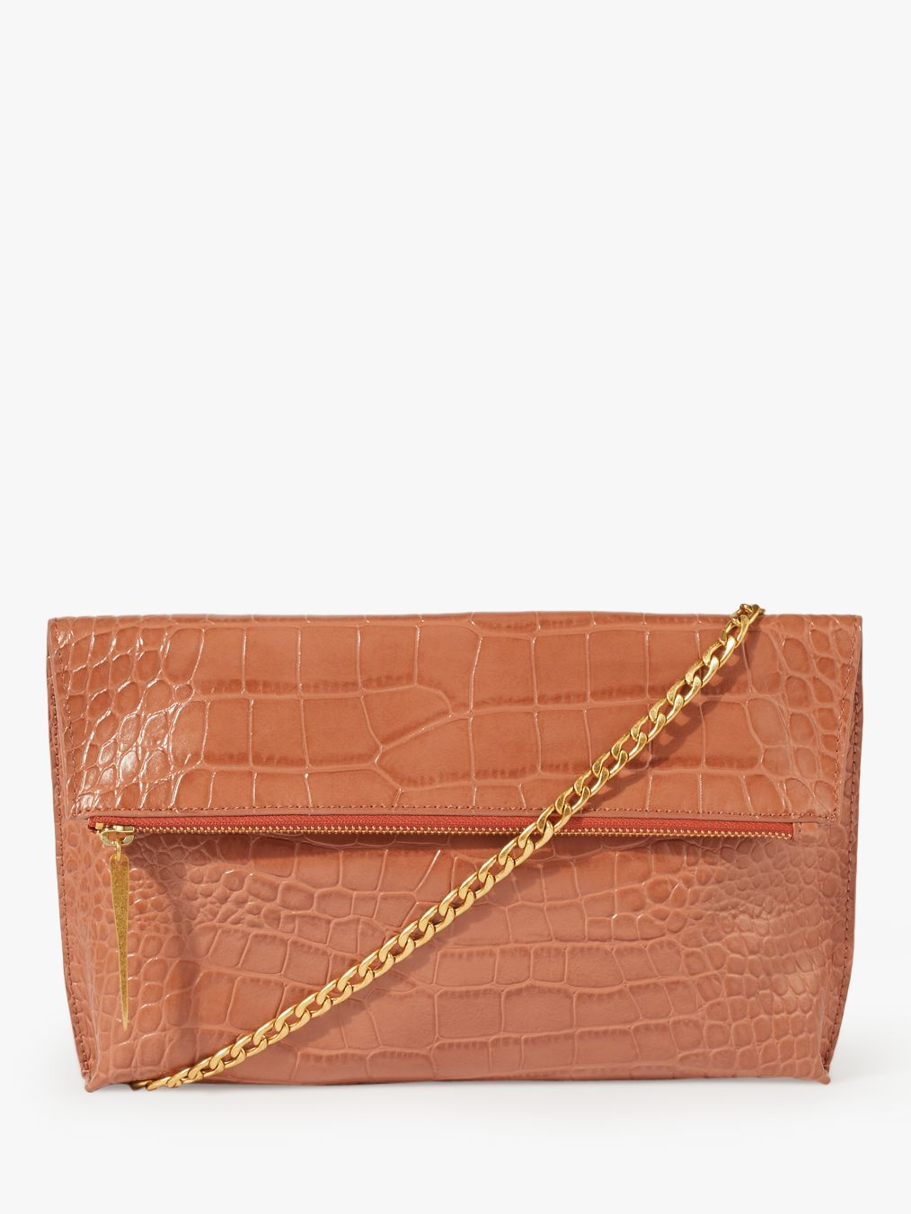 4c7cef002 Jigsaw Eve Croc Embossed Leather Foldover Clutch Bag, Terracotta at John  Lewis & Partners