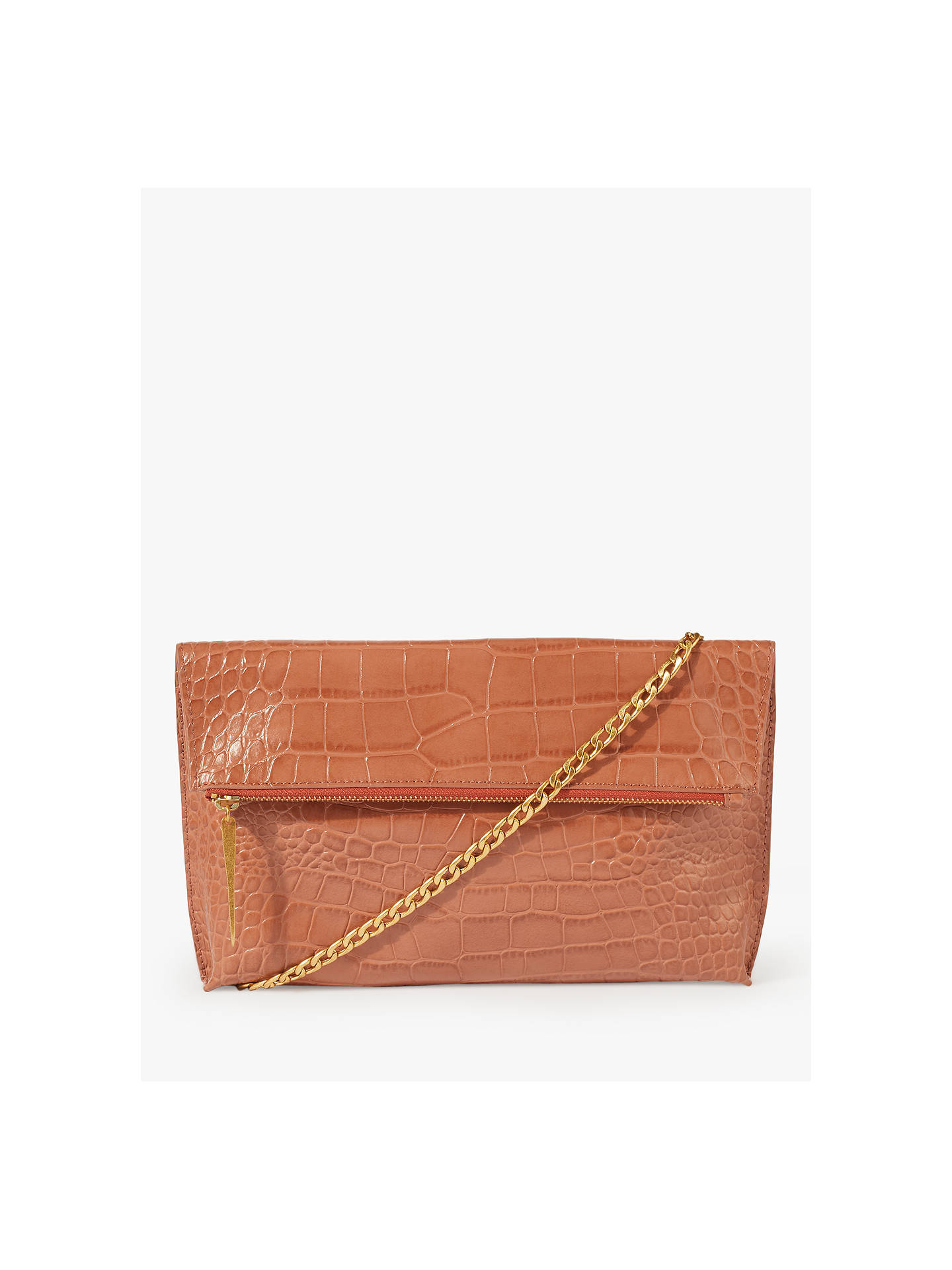 ca26f7b73 Buy Jigsaw Eve Croc Embossed Leather Foldover Clutch Bag, Terracotta Online  at johnlewis.com ...