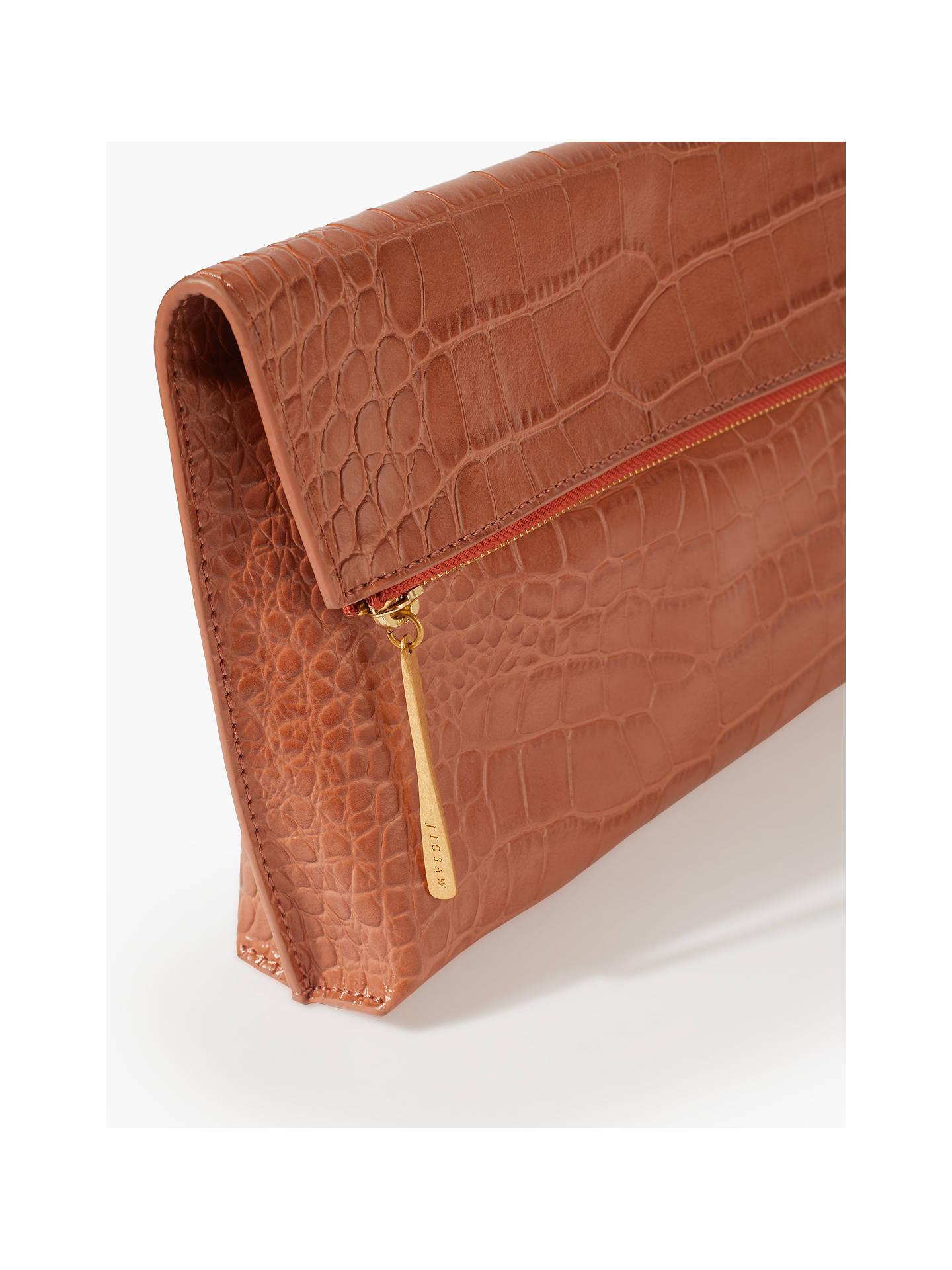 0c93d13ef ... Buy Jigsaw Eve Croc Embossed Leather Foldover Clutch Bag, Terracotta  Online at johnlewis.com