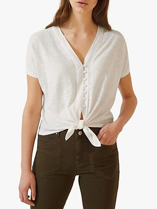 Jigsaw Linen Cotton Button Through Top, White