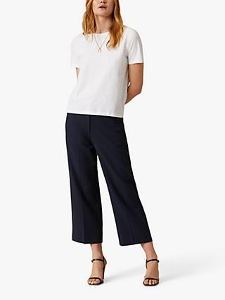 Jigsaw Modern Crepe Crop Straight Trousers, Navy