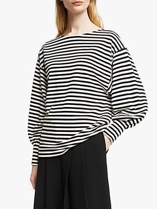 John Lewis & Partners Stripe Batwing Top, Black/White