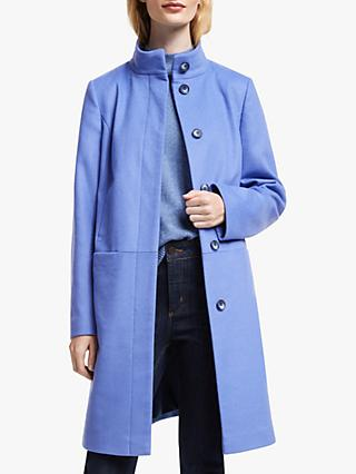 John Lewis & Partners Wool Blend Funnel Neck Coat, Blue