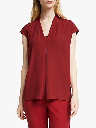 John Lewis & Partners Cora Pleat V-Neck Blouse