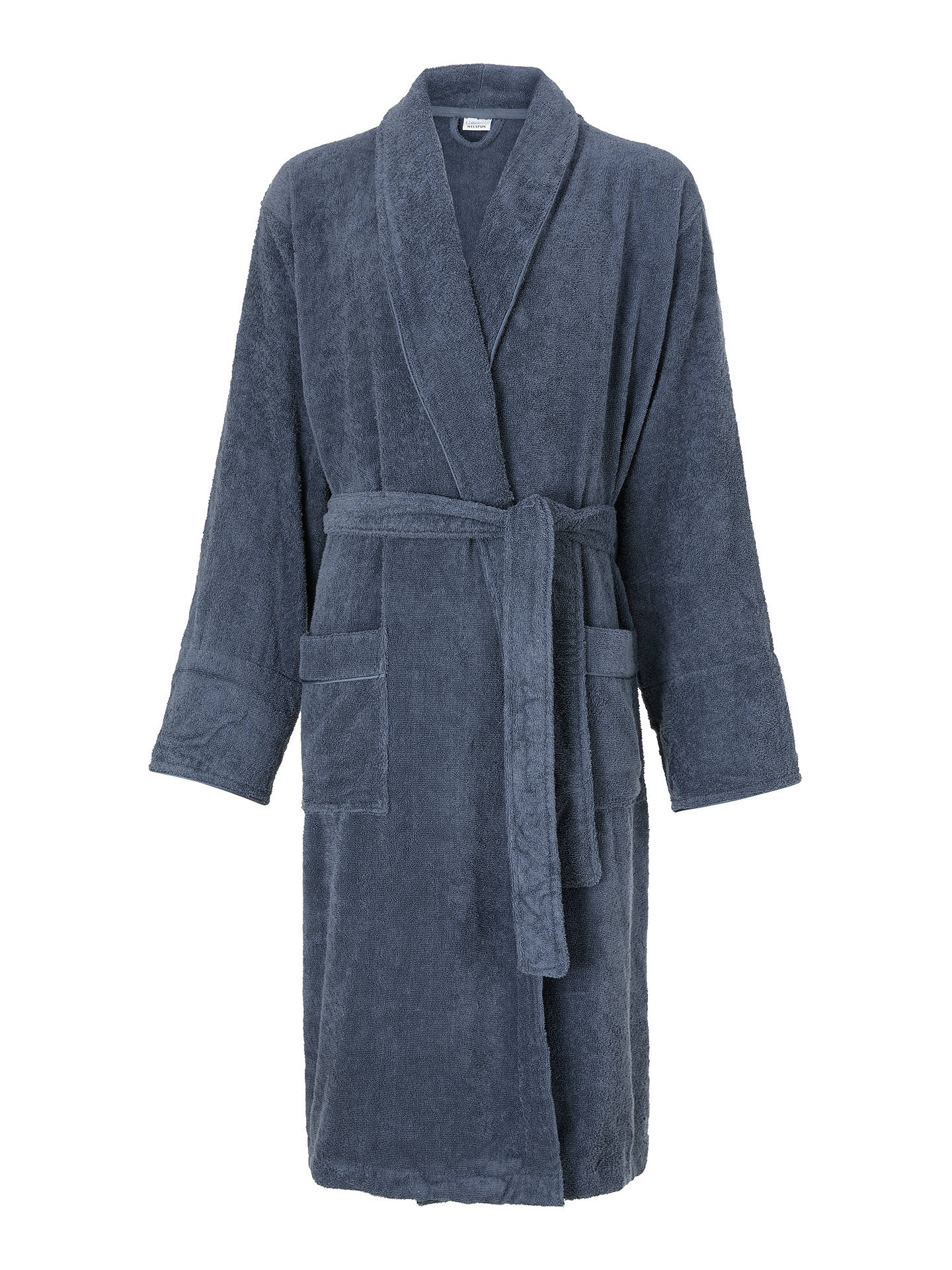 Buy John Lewis & Partners Silky Suvin Unisex Bath Robe, Blue, M/L Online at johnlewis.com