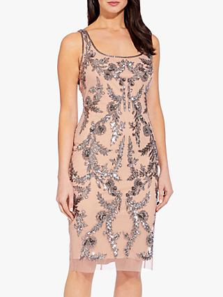 Adrianna Papell Beaded Mesh Dress, Rose Gold