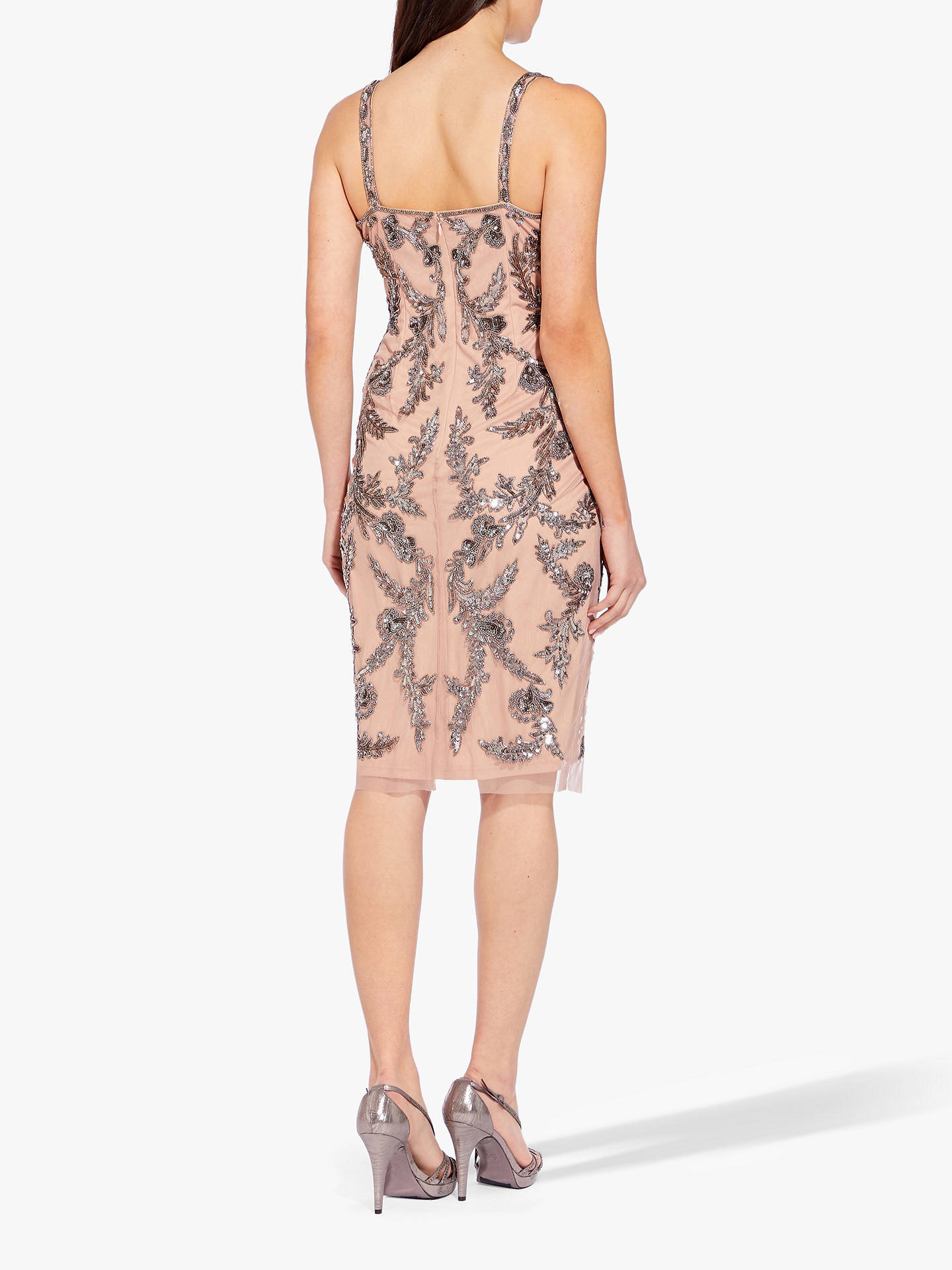Buy Adrianna Papell Beaded Mesh Dress, Rose Gold, 16 Online at johnlewis.com