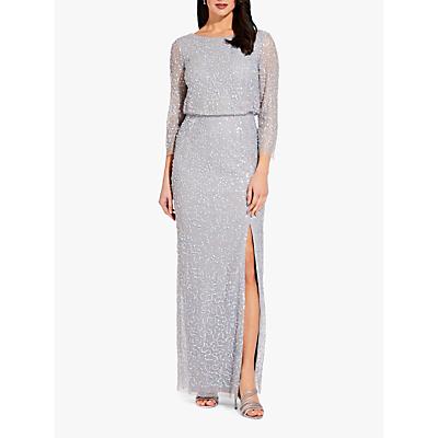 Adrianna Papell Beaded Blouson Dress, Blue Heather