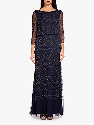 Adrianna Papell Bead Mesh Dress, Navy