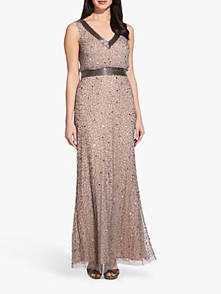 Adrianna Papell Long Beaded Dress, Mercury/Nude