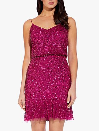 Adrianna Papell Blouson Sequin Short Dress, Red Plum