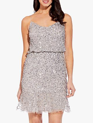 Adrianna Papell Blouson Sequin Short Dress, Silver