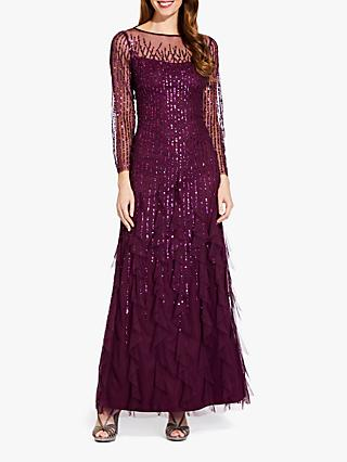Adrianna Papell Long Beaded Dress, Cassis