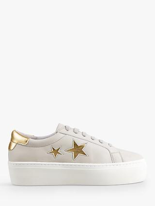 hush Malton Star Low Top Trainers, Grey/Leather Gold
