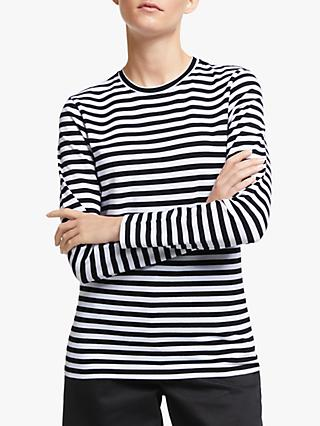 John Lewis & Partners Long Sleeve Cotton Stretch Breton T-Shirt, Black/White